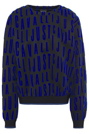 JUST CAVALLI Flocked scuba sweatshirt