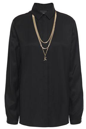 JUST CAVALLI Chain-trimmed twill shirt
