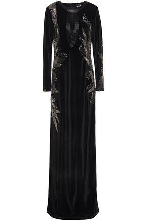 JUST CAVALLI Embellished velvet gown