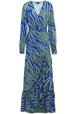 JUST CAVALLI Crystal-embellished printed woven maxi wrap dress