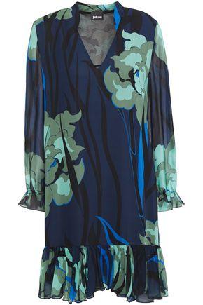 JUST CAVALLI فستان قصير من قماش جورجيت المطبع برسومات