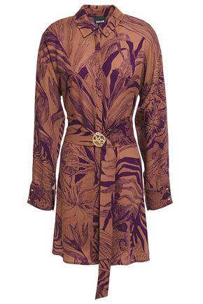 JUST CAVALLI Embellished belted printed crepe mini shirt dress