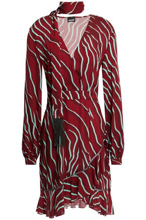 JUST CAVALLI Wrap-effect crystal-embellished zebra-print woven mini dress