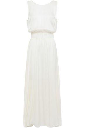 FORTE_FORTE Open-back gathered washed-satin maxi dress