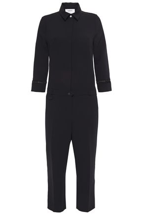 BA&SH Lattice-trimmed cropped woven jumpsuit
