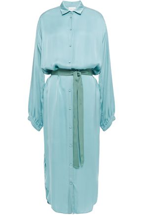 FORTE_FORTE Belted satin midi shirt dress