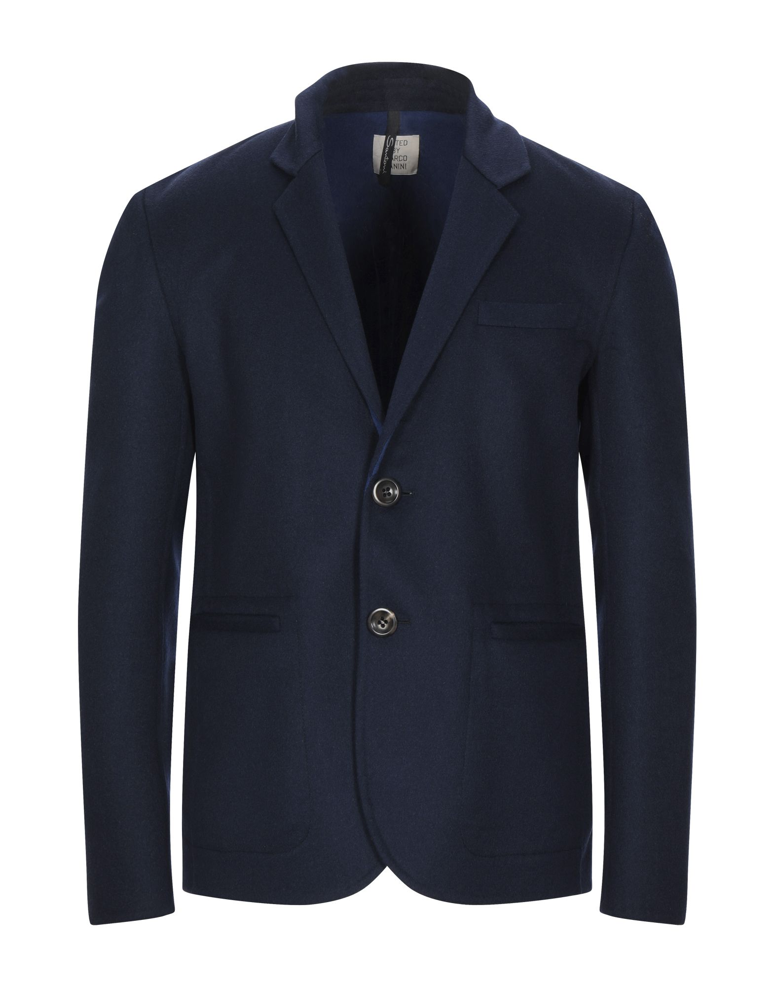 SANTONI Suit jackets. boiled wool, no appliqués, multipockets, basic solid color, button closing, lapel collar, single-breasted, long sleeves, unlined. 90% Virgin Wool, 10% Cashmere