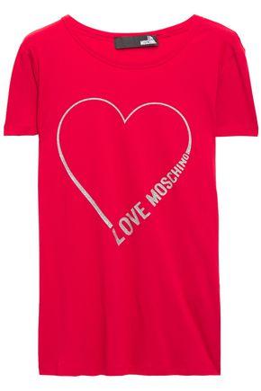 LOVE MOSCHINO Glitter-embellished logo-print stretch cotton-jersey T-shirt