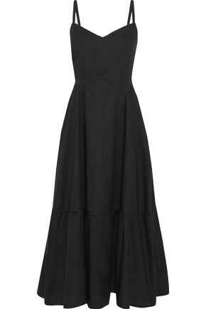 "IRIS & INK فستان متوسط الطول ""يوكا"" بتصميم ملموم من قماش البوبلين القطني"