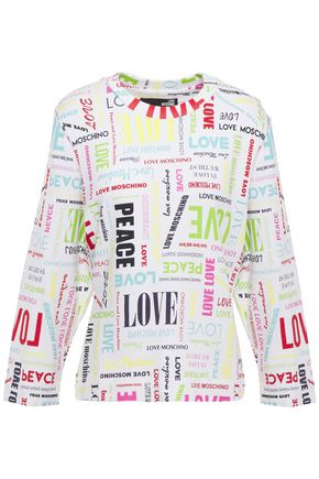 LOVE MOSCHINO Logo-print French cotton-terry sweatshirt