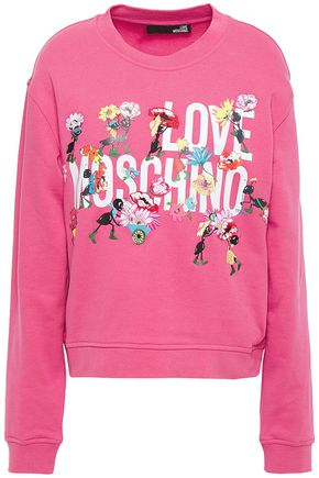 LOVE MOSCHINO Embroidered logo-print French cotton-terry sweatshirt