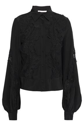 ANTONIO BERARDI Paneled lace and silk crepe de chine blouse