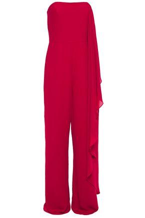 HALSTON Strapless draped crepe wide-leg jumpsuit