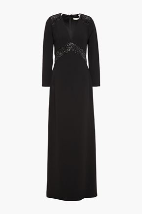 HALSTON Embellished tulle-paneled stretch-crepe gown