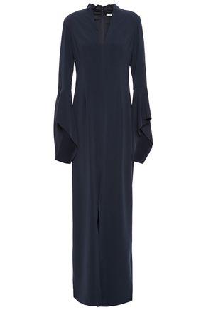 HALSTON Split-front crepe maxi dress