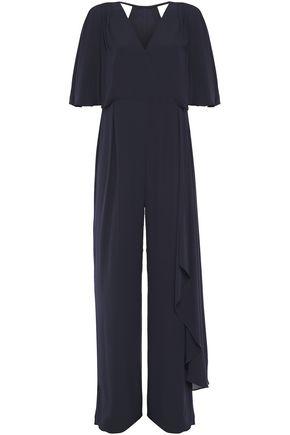 HALSTON Cutout draped crepe de chine jumpsuit