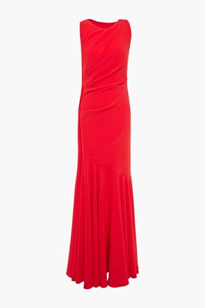 TALBOT RUNHOF Open-back ruched stretch-crepe gown