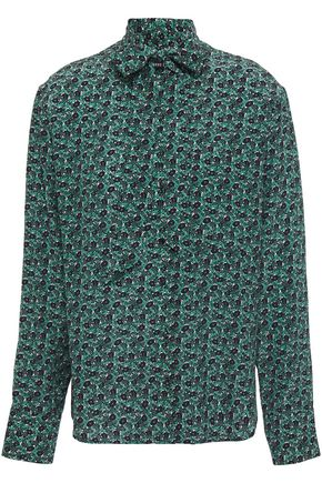 MARKUS LUPFER Abbie pussy-bow floral-print silk-crepe blouse