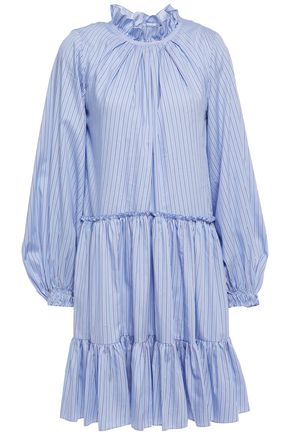 3.1 PHILLIP LIM Gathered striped cotton-blend poplin mini dress