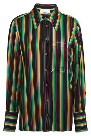 3.1 PHILLIP LIM Grosgrain-trimmed striped satin shirt