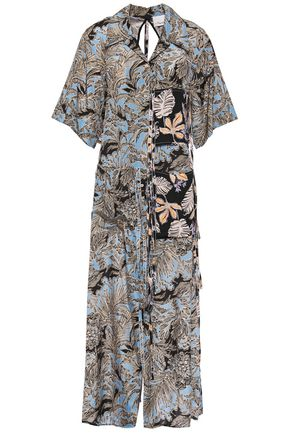 3.1 PHILLIP LIM Cutout patchwork printed silk-crepe and woven shirt