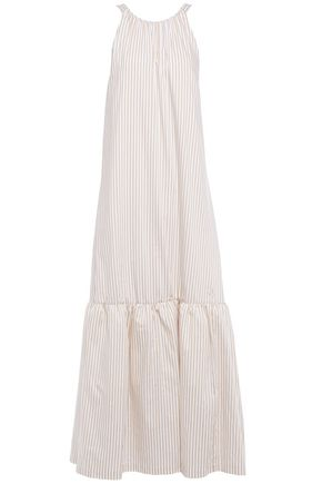 3.1 PHILLIP LIM Cutout gathered striped cotton-blend poplin maxi dress