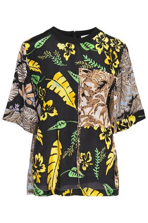 3.1 PHILLIP LIM Silk crepe-paneled printed mousseline top