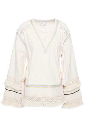 3.1 PHILLIP LIM Fringed macramé-trimmed bow-detailed cotton-terry tunic