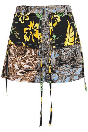 3.1 PHILLIP LIM Paneled printed crepe de chine shorts