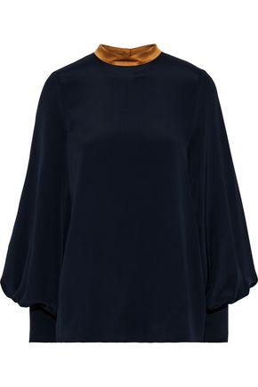 ROKSANDA Cala satin-trimmed silk-crepe blouse