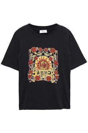 SANDRO Printed cotton-jersey T-shirt