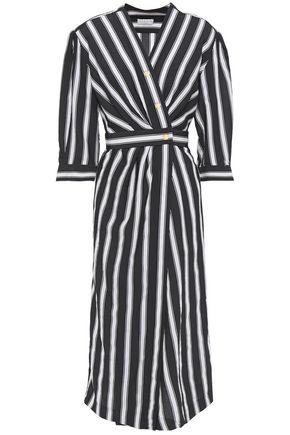SANDRO Carl striped pleated woven midi wrap dress