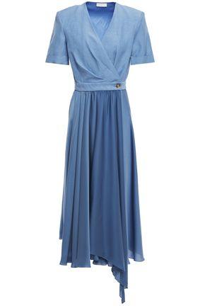 SANDRO Paty wrap-effect shantung and satin midi dress