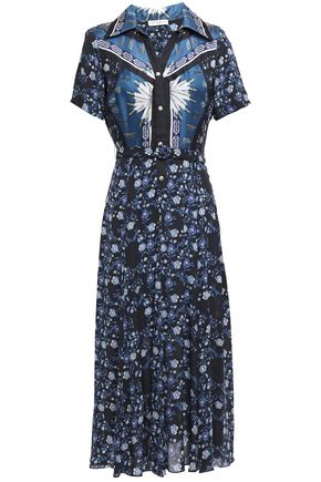SANDRO Nour silk twill-paneled printed crepe de chine midi dress