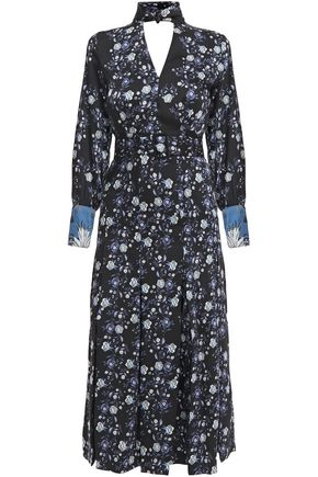 SANDRO Bonny cutout pleated floral-print satin-twill midi dress