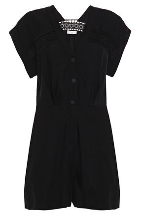 SANDRO Nyane lace-trimmed gathered twill playsuit