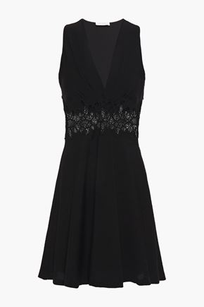 SANDRO Elena macramé lace-paneled woven mini dress