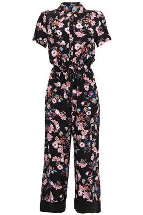 SANDRO Olivier cropped floral-print crepe jumpsuit