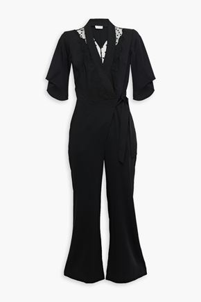 SANDRO Nala cropped wrap-effect point d'esprit-paneled twill jumpsuit