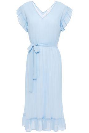 SANDRO Fergie pleated georgette midi dress