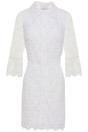 SANDRO Lauretta guipure lace mini shirt dress