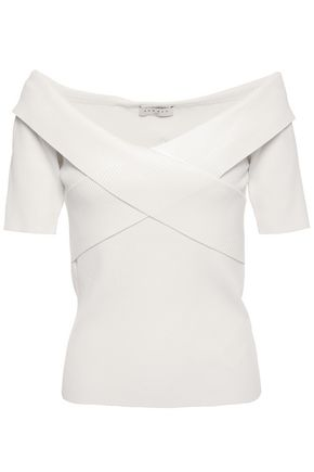 SANDRO Galina off-the-shoulder crossover ribbed-knit top
