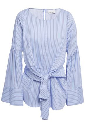 3.1 PHILLIP LIM Tie-front striped cotton-blend poplin top