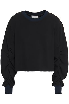 3.1 PHILLIP LIM Cropped ruched stretch-jersey sweatshirt