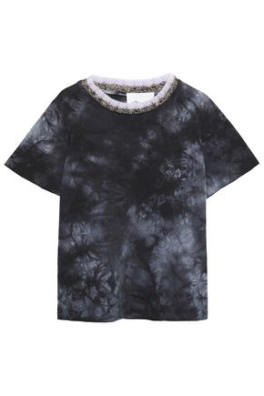 3.1 PHILLIP LIM Knit-trimmed tie-dyed cotton-jersey T-shirt