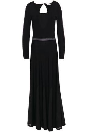 """SANDRO فستان طويل """"زيفير"""" محاك مضلّع مع أجزاء مقصوصة"""