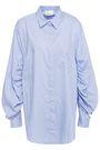 3.1 PHILLIP LIM Gathered striped cotton-blend twill shirt