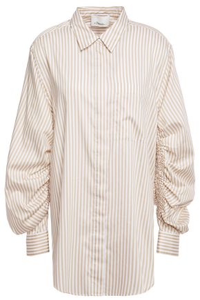 3.1 PHILLIP LIM Gathered striped cotton-blend twill shirt