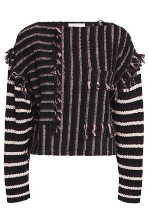 3.1 PHILLIP LIM Fringe-trimmed striped bouclé and cotton-blend top