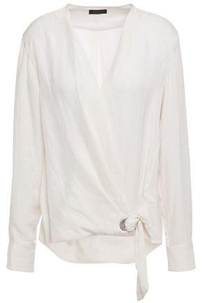 RAG & BONE Felix knotted crinkled twill blouse